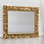 SIMONE GUARRACINO LUXURY DESIGN Specchiera Zaafira Stile Barocco Cornice Traforata Foglia Oro Specchio molato cm 107 x 87