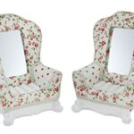 2 Piece English Romance Floral Country Cottage sedia portagioielli set