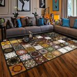 DTLIOH Tappeto Vintage Large Area Rugs Home Decor Carpets for Living Room Antiskid Mat Geometric 3D Printed Square
