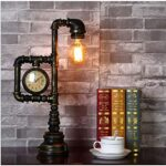 GQNLY Industrial Steampunk Tavolo Luminoso, Retro Metallo Tubo di Acqua Desk Lamp con L'orologio d'Epoca Plumbing Tubo E27 per Scrivania Camera