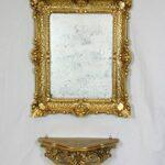Ideacasa Completo Specchio Rettangolare più Mensola Consolle Oro Stile Barocco Finto Vintage Dorato