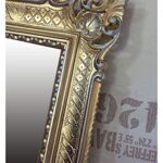 Lnxp, specchio da parete in stile barocco bicolore (argento e oro), da 90 x 70 cm, design anticato, rococò, shabby chic, rinascimentale, liberty, con sfarzosi ornamenti di lusso