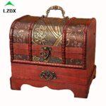 Pirate Treasure Chest Scatola di Legno, Stile Europeo Vintage Treasure Chest Storage Box Jewellery Box, per La Memorizzazione Oggetti di Valore,B